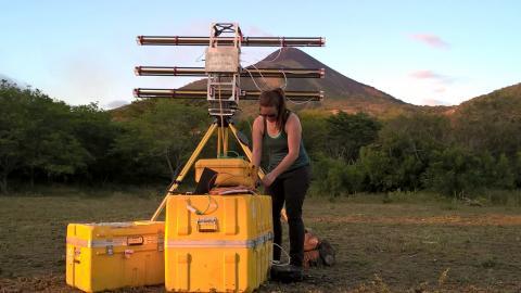 Lis Gallant operating the radar instrument at Momotombo Volcano